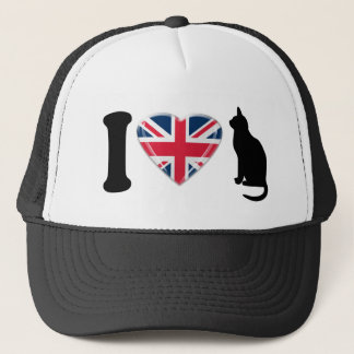 I Heart Cats, with 3D effect Union Jack Heart Trucker Hat