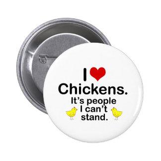 I (Heart) Chickens 6 Cm Round Badge