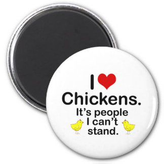 I (Heart) Chickens 6 Cm Round Magnet