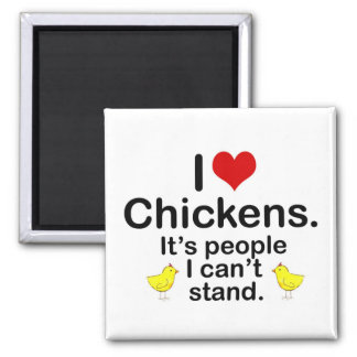 I (Heart) Chickens Square Magnet