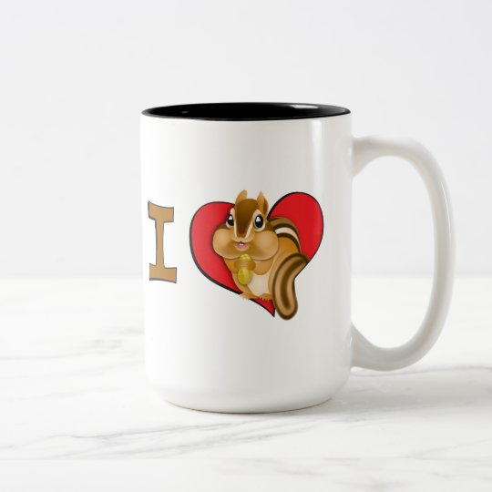 I heart chipmunks Two-Tone coffee mug