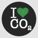 I Heart CO2 Round Stickers