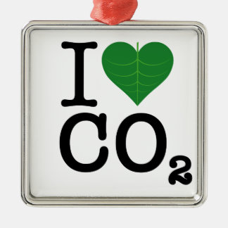 I Heart CO2 Silver-Colored Square Decoration