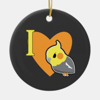 I Heart Cockatiels Christmas Ornament