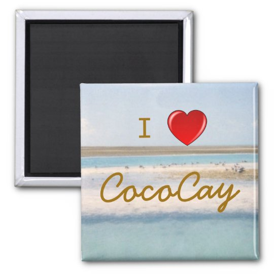 I Heart CocoCay Square Magnet