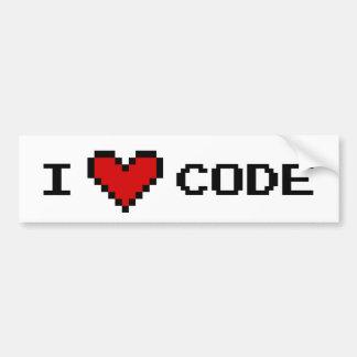 I heart code car bumper sticker for programmer