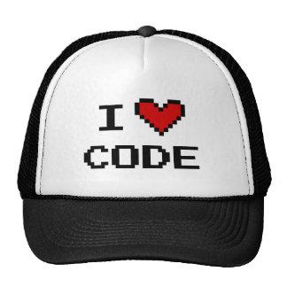 I heart code trucker hat for computer programmer