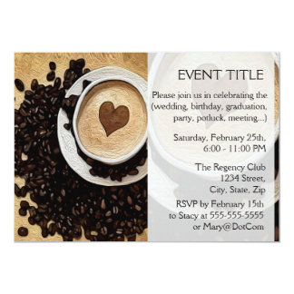 I Heart Coffee 13 Cm X 18 Cm Invitation Card