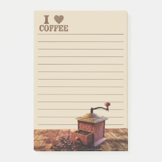 I Heart Coffee And Coffee Grinder Post-it Notes