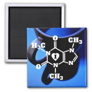 I Heart Coffee Funny Geek Caffeine Molecule Square Magnet