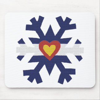 I Heart Colorado Flag Snowflake Mouse Pad