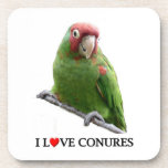 "I ""Heart"" Conures Beverage Coaster"
