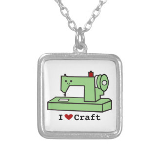 I Heart Craft- Kawaii Sewing Machine- Necklace
