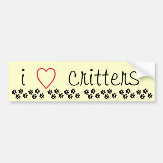 I Heart Critters Bumper Sticker