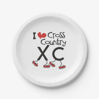 I heart Cross Country Running XC Party Supplies 7 Inch Paper Plate