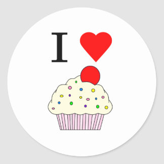 I heart Cupcakes Classic Round Sticker
