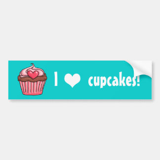 I heart Cupcakes very pink strawberry frosting Bumper Sticker