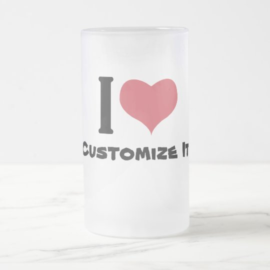 I Heart Customise It Frosted Glass Beer Mug