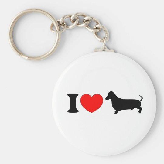 I Heart Dachshund - Landscape Basic Round Button Key Ring