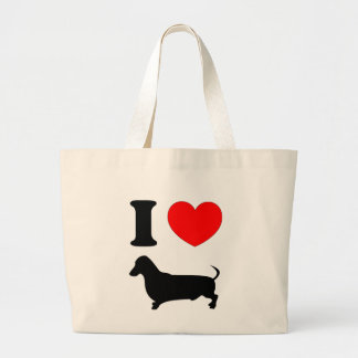 I Heart Dachshund Large Tote Bag