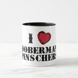 I heart Doberman Pinschers mug