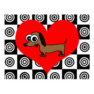 I Heart Dogs - Black Red White Postcard