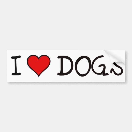 I HEART DOGS BUMPER STICKER
