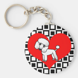 I Heart Dogs - White Poodle Key Ring
