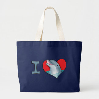 I heart dolphins large tote bag