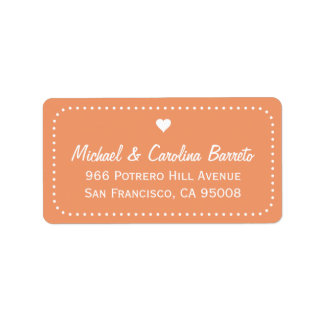 I Heart Dots - Coral Address Label