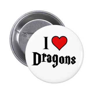 I heart dragons 6 cm round badge