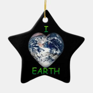 I Heart Earth (I ♥ Earth) Ceramic Star Decoration