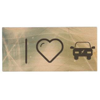 I Heart Eco Cars Wood USB 2.0 Flash Drive