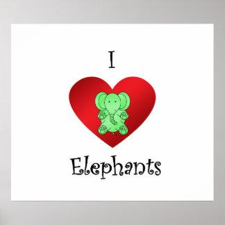 I heart elephants in green print