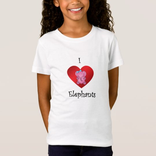 I heart elephants in pink and blue T-Shirt