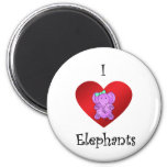 I heart elephants in purple and green refrigerator magnet