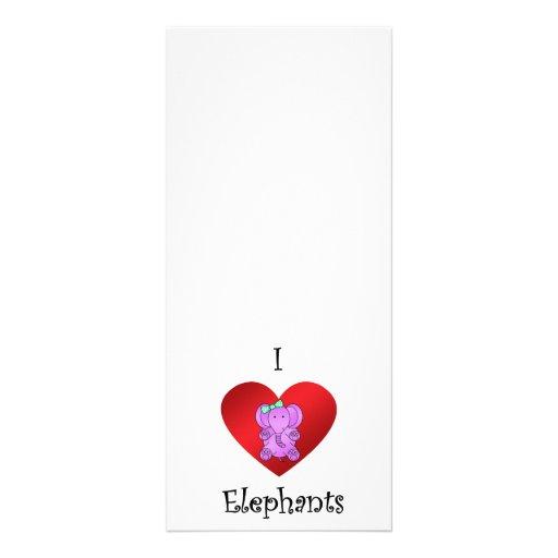 I heart elephants in purple and green rack card