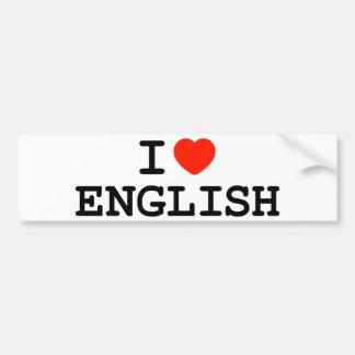 I Heart English Bumper Sticker
