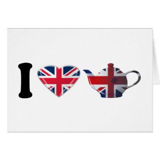 I Heart English Tea, Fun Patriotic Art Card