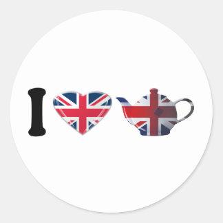 I Heart English Tea Gifts Round Sticker