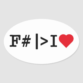 I Heart F oval sticker