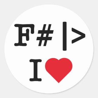 I Heart F# round sticker