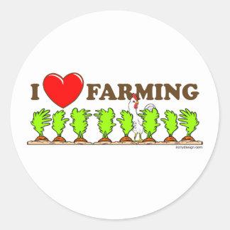 I Heart Farming Classic Round Sticker