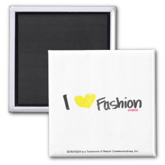 I Heart Fashion Pink Square Magnet