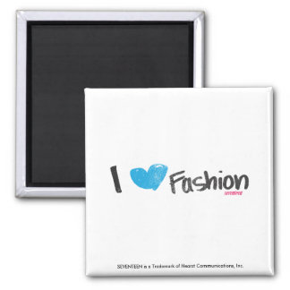 I Heart Fashion Yellow Square Magnet