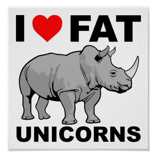 I Heart Fat Unicorn Rhino Funny Poster