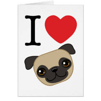 I Heart Fawn Pugs Greeting Card