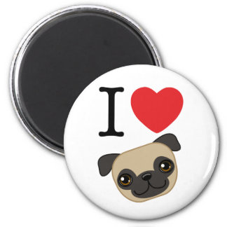 I Heart Fawn Pugs Magnet