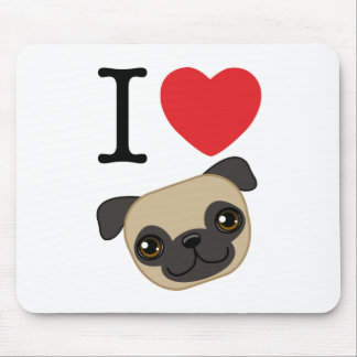 I Heart Fawn Pugs Mouse Mat