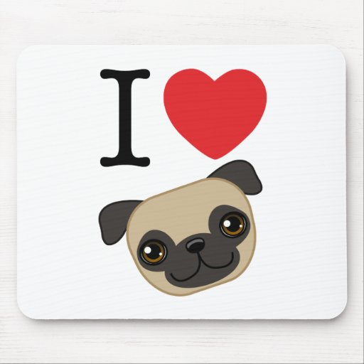 I Heart Fawn Pugs Mouse Mat